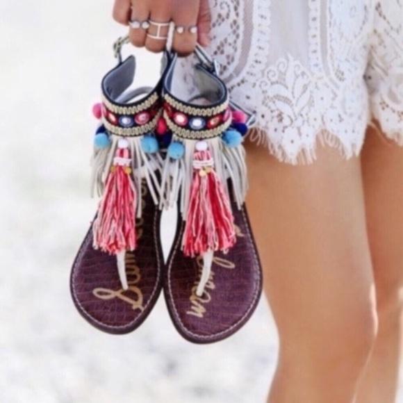 5dec6ee954a90c Sam Edelman Gere Pompom Embellished Sandals